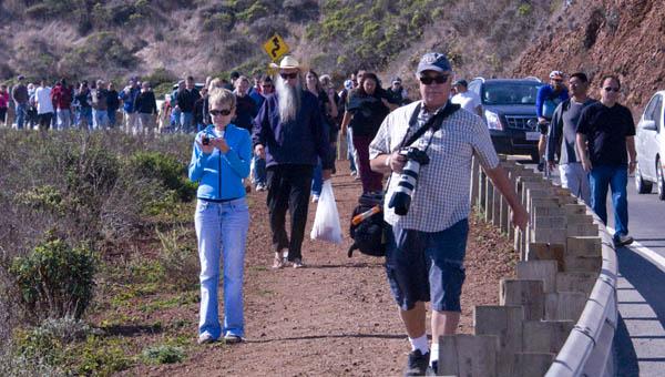 Crowd walking down the Marin Headlands road after the Endeavour flyby