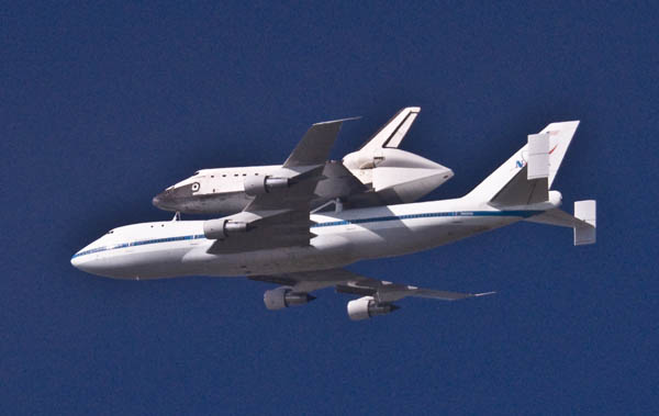 Space Shuttle Endeavour crosses the Golden Gate