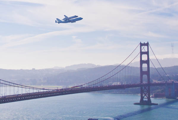 Space Shuttle Endeavour buzzes the Golden Gate Bridge