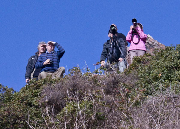 Shuttle watchers in the Marin Headlands