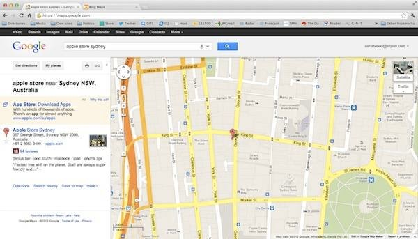 Google maps shows the correct location for Sydney's Apple store