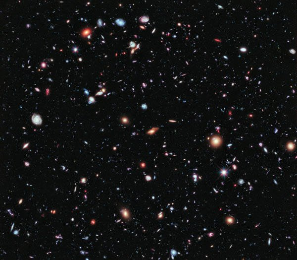 The Hubble Extreme Deep Field (XDF): an image of a small area of space created using Hubble Space Telescope data from combined Space Telescope exposures taken over a decade
