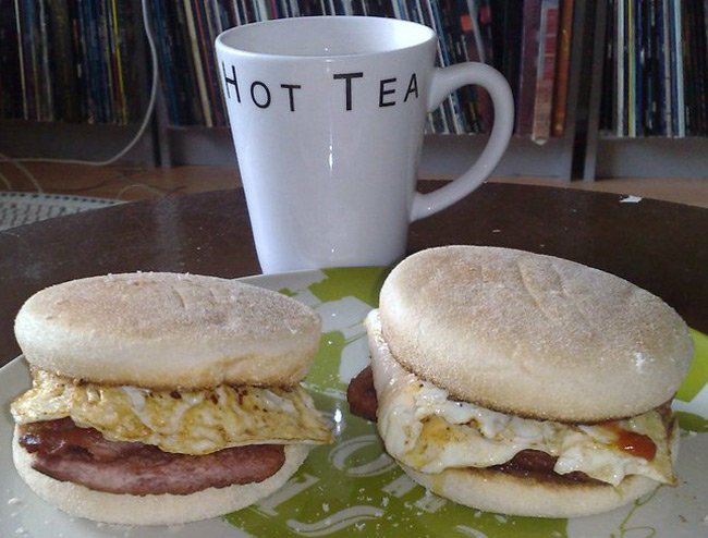Scott Chapman's sarnie, with muffins and eggs