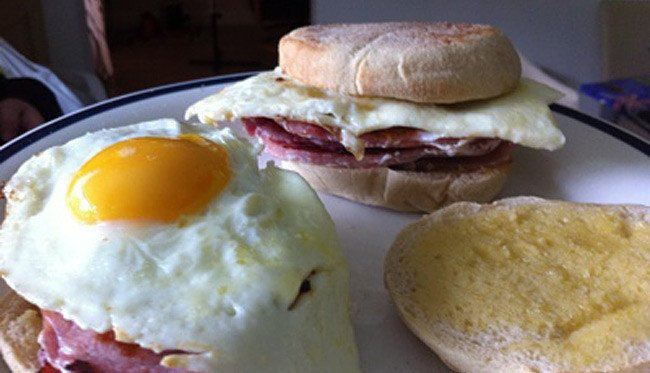 Neil Brown's muffin/bacon/egg construction