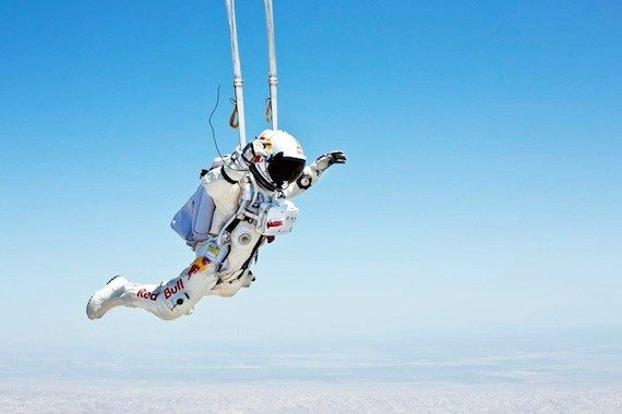 Felix Baumgartner's parachute deploys during a test jump in Taft, CA in preparation for the 2nd manned test flight. June 21, 2012