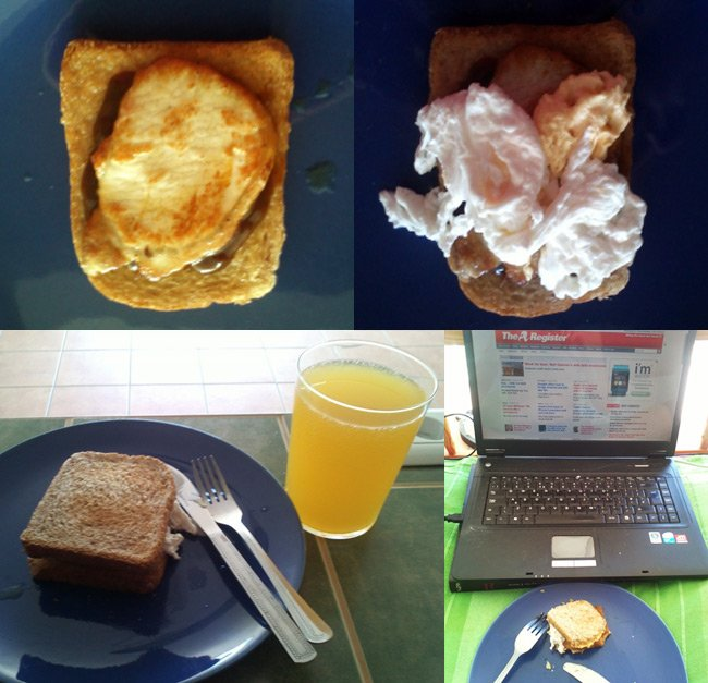 Ian's pork loin chop and poached egg sarnie