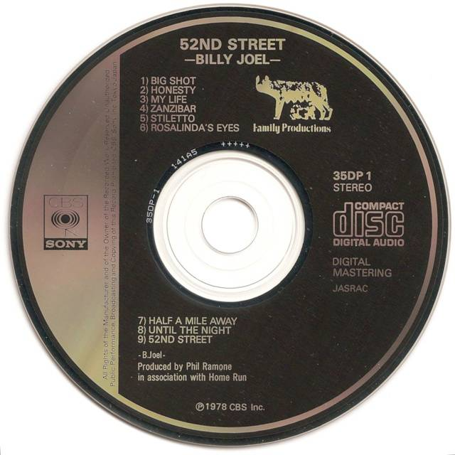 Billy Joel 52nd Street CD from 1982
