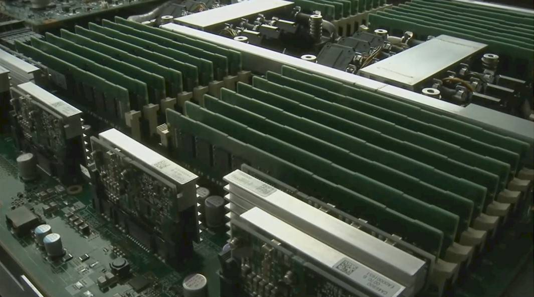 Zoom shot of the Fujitsu 'Athena' Sparc64 system board