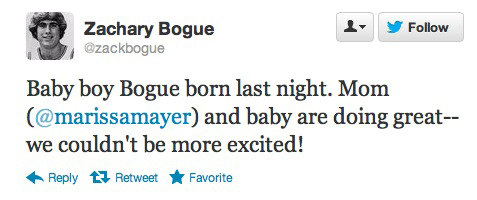 Marissa Mayer's husband tweets of the arrival of the couple's new baby boy