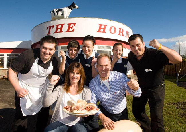 The staff and owners of The Horn celebrate their win. Pic: The