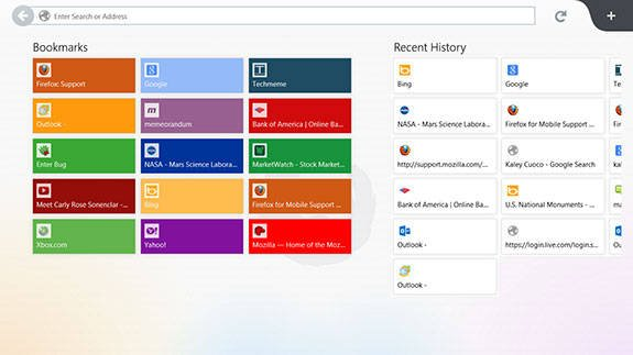 Screenshot of the Windows Store version of Firefox