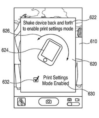 Illustration from Apple's 'shake to print' patent application