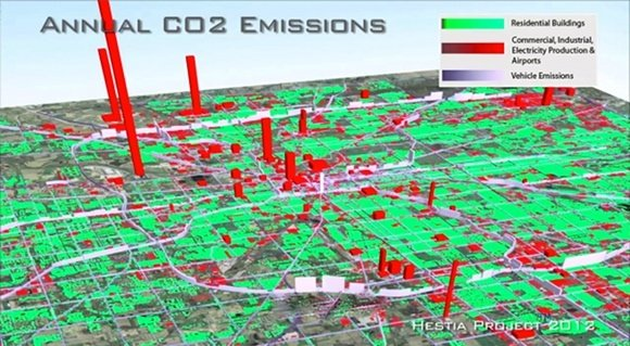 Hestia's hourly, building-by-building map of CO2 emi