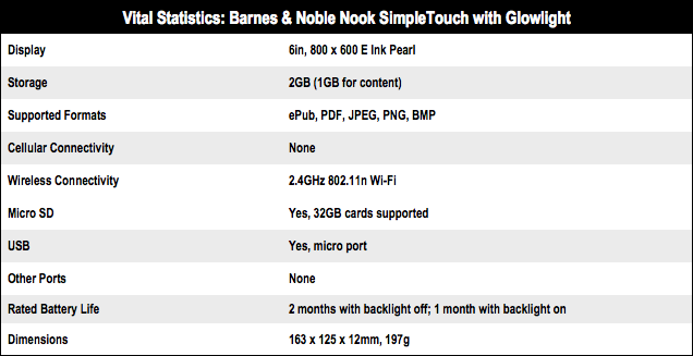Barnes & Noble Nook SimpleTouch tech specs