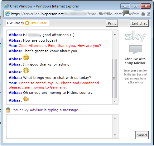 Screen grab of the offending chat