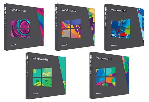 All five retail box designs for Windows 8