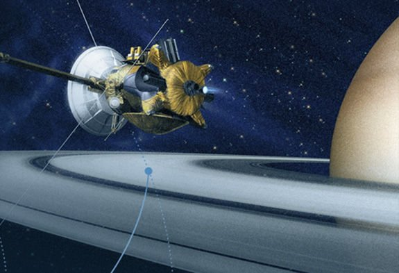 Artist&amp;#39;s impression of Cassini spacecraft orbiting Saturn