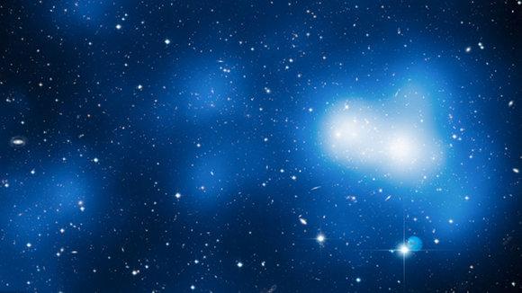 Hubble image with dark matter mass overlay