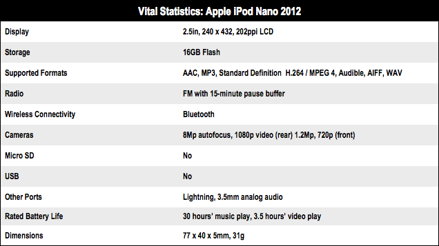 Apple iPod Nano 7G tech specs