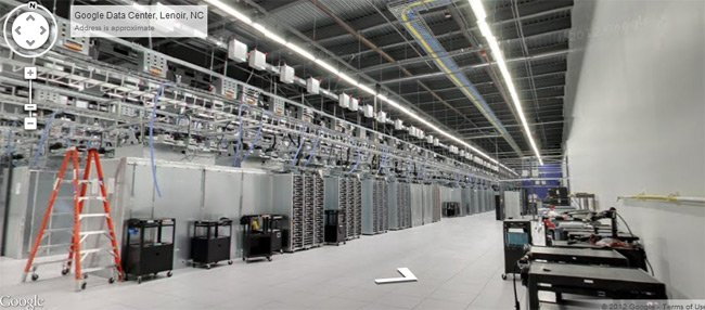 Rows of computer racks in data center