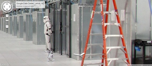 A Star Wars Imperial Stormtrooper on guard