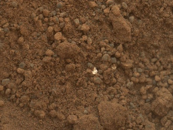 Bright bit in hole dug by Curiosity