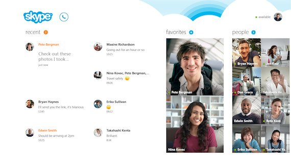Skype's new homescreen in Windows 8, credit Skype