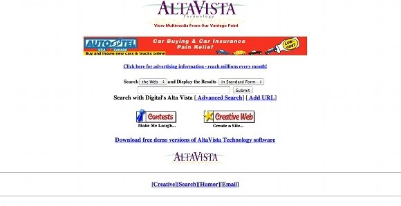 AltaVista screen shot 1996