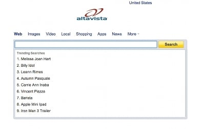 AltaVista screenshot 2012