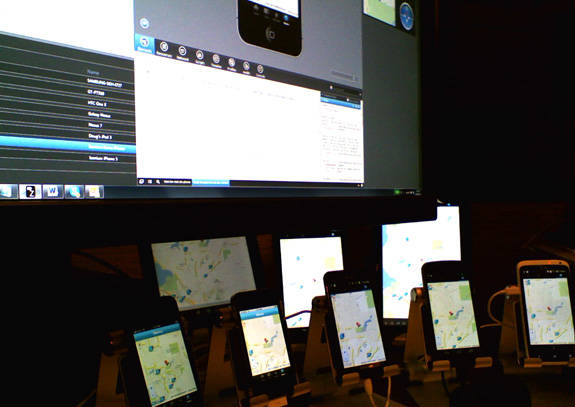 Icenium Live Sync demo showing multiple devices