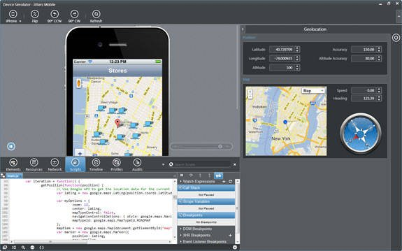 Screenshot of the Icenium Graphite environment with debugger and simulator