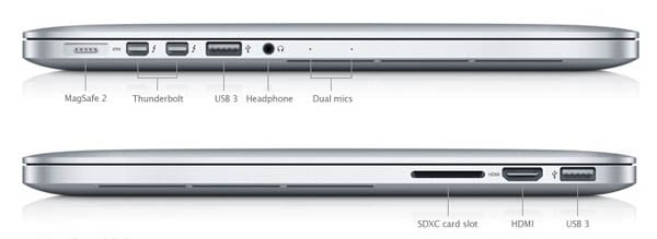 13-inch MacBook Pro with Retina Display ports, left and right