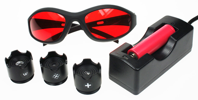 The safety glasses, battery and charger and extra lenses
