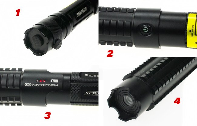 Four photos showing the laser controls and aperture