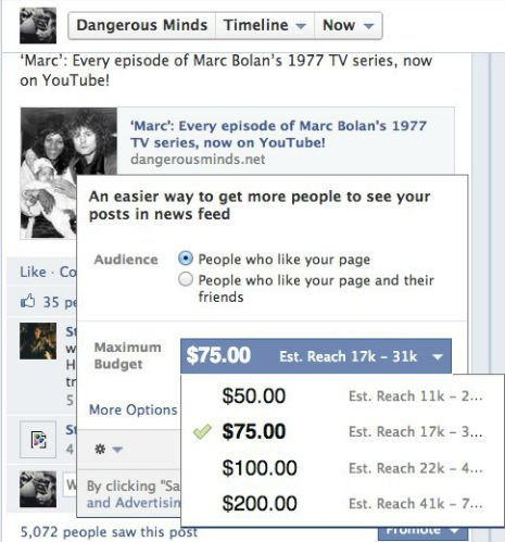 Facebook promotions, credit Dangerous Minds blog, screengrab