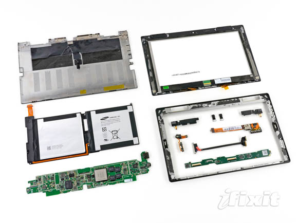 Microsoft Surface  fully disassembled