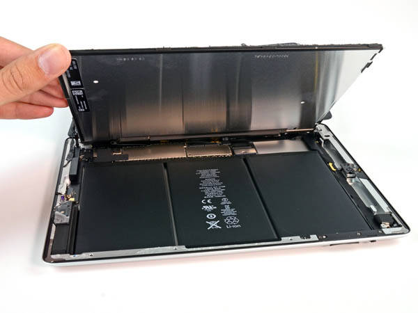 Fourth-generation iPad  opened to show battery