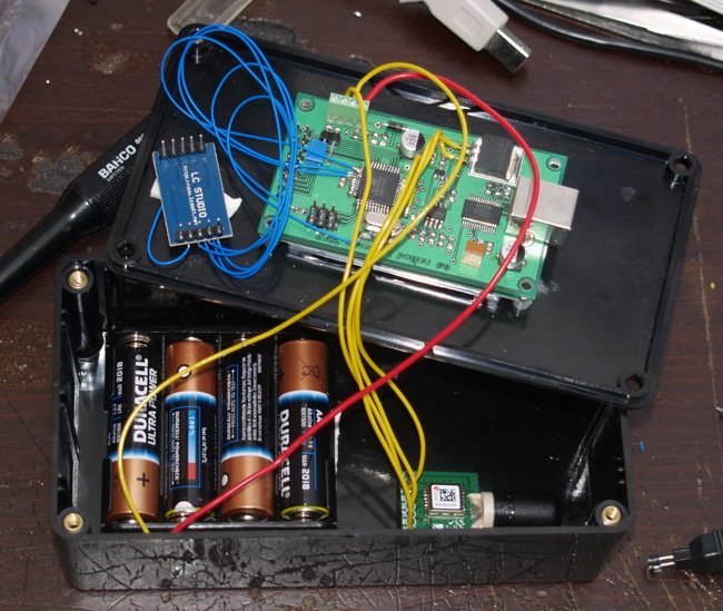 The prototype LOHAN board, with rocket motor ignition battery pack