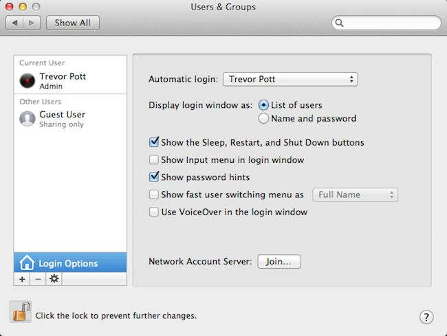 The user account controls in Mac OS X