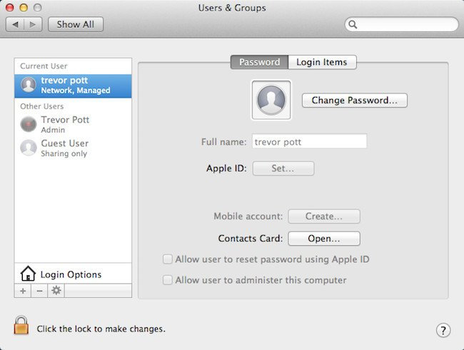 A working networked account in the Mac OS X account control panel