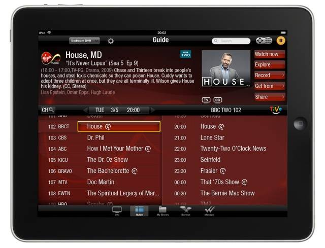 Virgin Media Tivo app