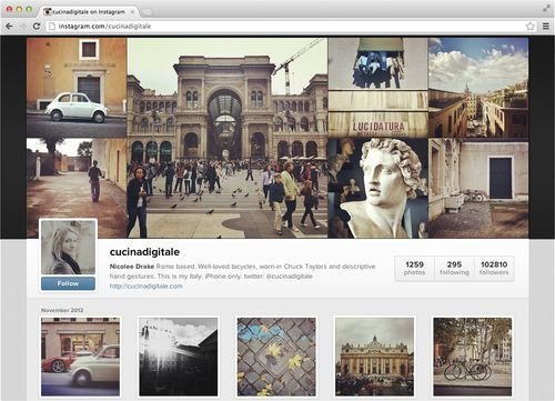 Instagram&amp;#39;s new web profile, credit Instagram