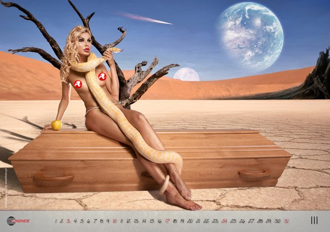 The March page from the calendar, featuring a naked woman on a coffin wrapped in a snake