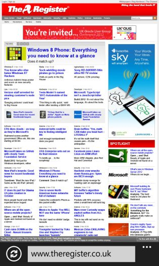 IE10 with our home page