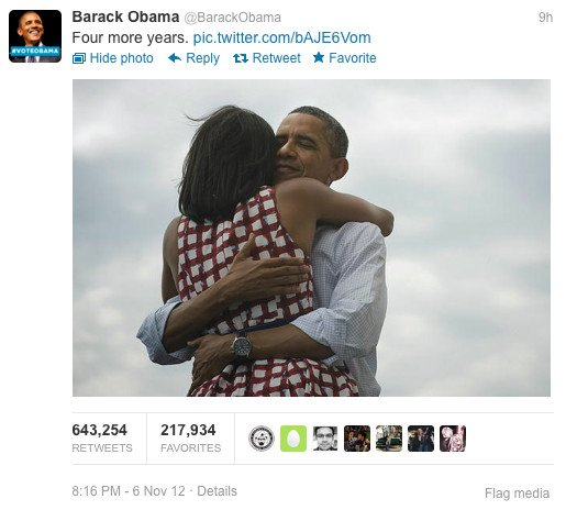 Barack Obama&amp;amp;#39;s most retweeted tweet ever, credit screengrab