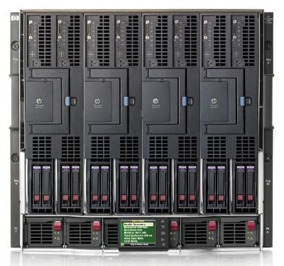 The c7000 chassis stuffed with four BL870c i4 servers