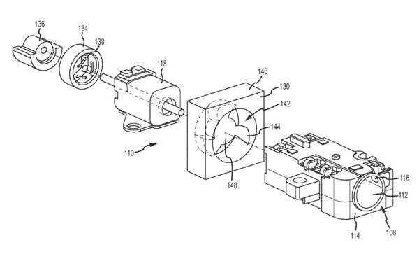 Illustration for an Apple patent application describing a combination cooling fan and offset-weight alert device, both run by the same motor: exploded view