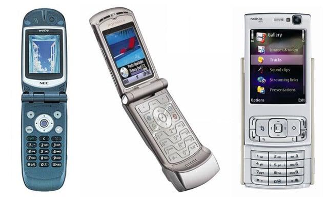 NEC e606 (2003), Motorola Razr (2004) and Nokia N95 (2006)