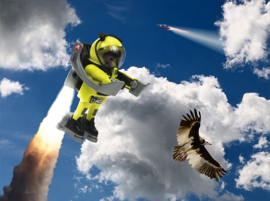 Our playmonaut tries out a jetpack, watched by a circling vulture