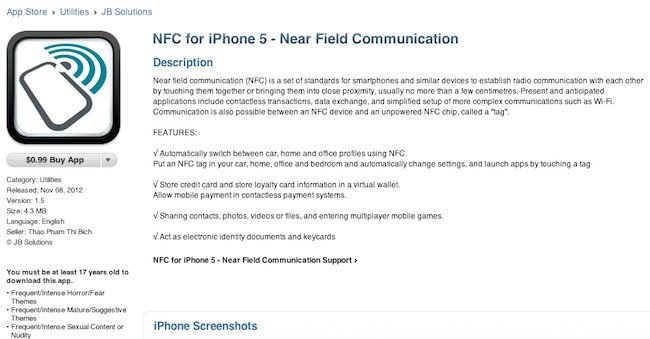 Screen grab of scam app NFC for iPhone 5 from Apple's iTunes